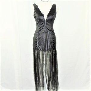 Vintage Corset Dress Black Tulle Fringe